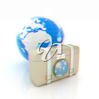 Suitcase for travel end Earth. 3D illustration. Anaglyph. View with red/cyan glasses to see in 3D.