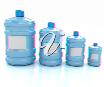 water bottles. 3D illustration. Anaglyph. View with red/cyan glasses to see in 3D.