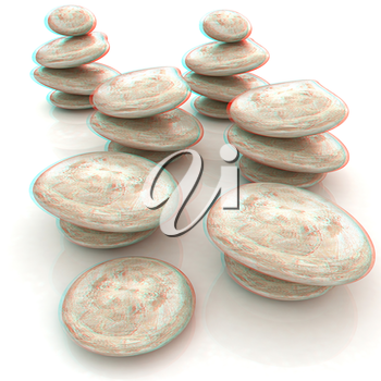 Glossy spa stones. 3d icon . 3D illustration. Anaglyph. View with red/cyan glasses to see in 3D.