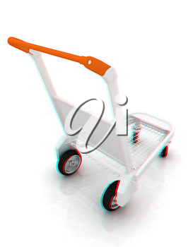 Trolley for luggage at the airport. 3D illustration. Anaglyph. View with red/cyan glasses to see in 3D.
