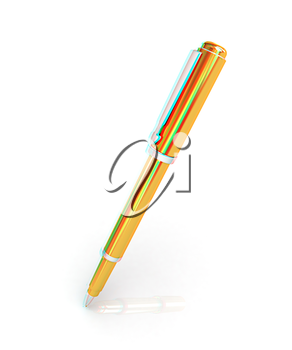Gold corporate pen design . 3D illustration. Anaglyph. View with red/cyan glasses to see in 3D.
