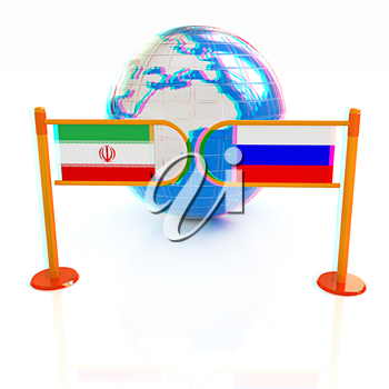 Three-dimensional image of the turnstile and flags of Russia and Iran on a white background . 3D illustration. Anaglyph. View with red/cyan glasses to see in 3D.