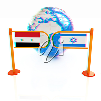 Three-dimensional image of the turnstile and flags of Israel and Syria on a white background . 3D illustration. Anaglyph. View with red/cyan glasses to see in 3D.