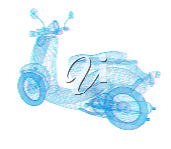 Vintage Retro Moped. 3d model. 3D illustration. Anaglyph. View with red/cyan glasses to see in 3D.