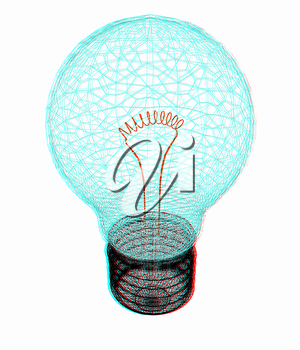 3d bulb icon. 3D illustration. Anaglyph. View with red/cyan glasses to see in 3D.