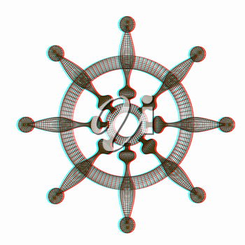 ship wheel. 3D illustration. Anaglyph. View with red/cyan glasses to see in 3D.