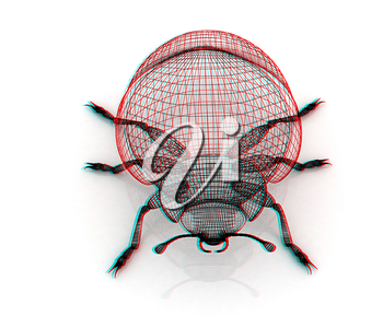 beetle. 3D illustration. Anaglyph. View with red/cyan glasses to see in 3D.