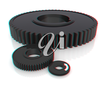 Gear wheels. 3D illustration. Anaglyph. View with red/cyan glasses to see in 3D.