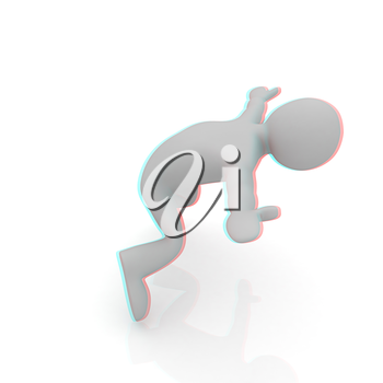 falling 3d man on white background. 3D illustration. Anaglyph. View with red/cyan glasses to see in 3D.