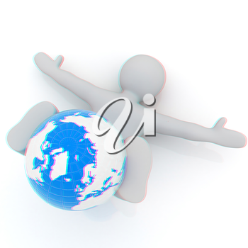 3d man exercising position on Earth - fitness ball. My biggest Global pilates series. 3D illustration. Anaglyph. View with red/cyan glasses to see in 3D.