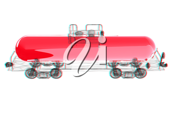 3D model cistern car. 3D illustration. Anaglyph. View with red/cyan glasses to see in 3D.