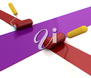 3d rollers brushes. 3D illustration. Anaglyph. View with red/cyan glasses to see in 3D.