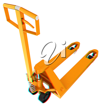 3d model pallet jack. 3D illustration. Anaglyph. View with red/cyan glasses to see in 3D.