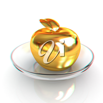 Gold apple on a plate. 3D illustration. Anaglyph. View with red/cyan glasses to see in 3D.