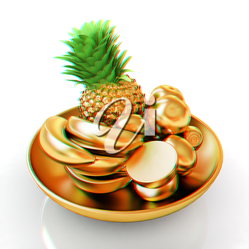 Gold citrus in a dish. 3D illustration. Anaglyph. View with red/cyan glasses to see in 3D.
