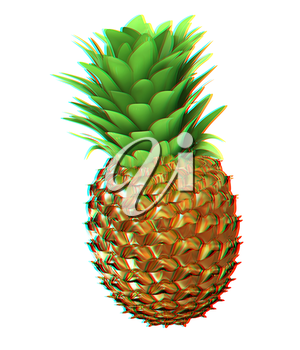 Abstract gold pineapple. 3D illustration. Anaglyph. View with red/cyan glasses to see in 3D.