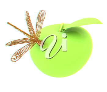 Dragonfly on apple. 3D illustration. Anaglyph. View with red/cyan glasses to see in 3D.