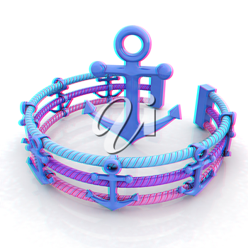 Design fence of anchors on the ropes and anchor in the center. 3D illustration. Anaglyph. View with red/cyan glasses to see in 3D.
