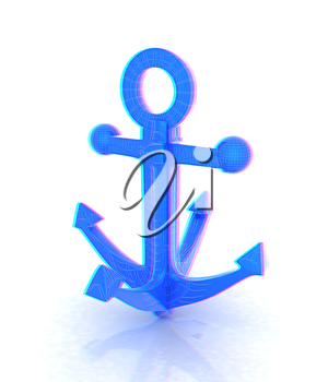 anchor. 3D illustration. Anaglyph. View with red/cyan glasses to see in 3D.