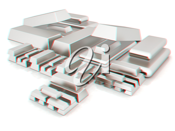 Platinum bars. 3D illustration. Anaglyph. View with red/cyan glasses to see in 3D.