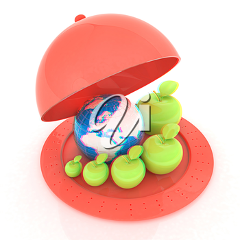 Earth and apples around - from the smallest to largest on Serving dome or Cloche. Global dieting concept. 3D illustration. Anaglyph. View with red/cyan glasses to see in 3D.