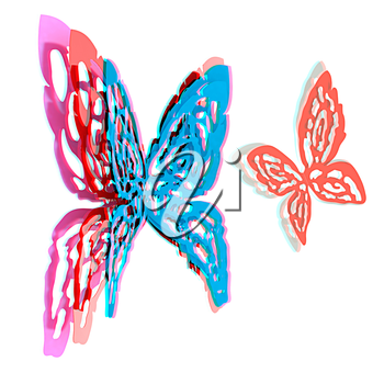 Butterfly interior design. 3D illustration. Anaglyph. View with red/cyan glasses to see in 3D.