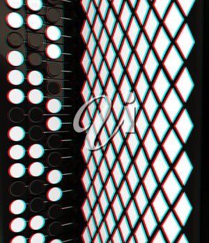 Musical instruments - bayan, close-up. 3D illustration. Anaglyph. View with red/cyan glasses to see in 3D.