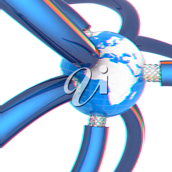 Cables for high tech connect and Earth. 3D illustration. Anaglyph. View with red/cyan glasses to see in 3D.