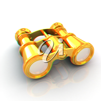 binoculars. 3D illustration. Anaglyph. View with red/cyan glasses to see in 3D.