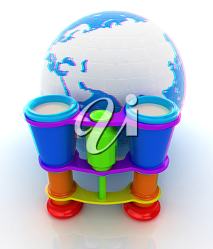 Worldwide search concept with Earth. 3D illustration. Anaglyph. View with red/cyan glasses to see in 3D.