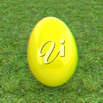 Big Easter Egg on a green grass. 3D illustration. Anaglyph. View with red/cyan glasses to see in 3D.