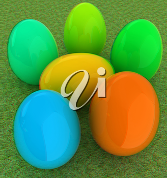 Colored Easter eggs on a green grass. 3D illustration. Anaglyph. View with red/cyan glasses to see in 3D.