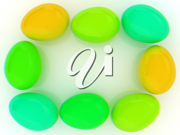 Colored Eggs on a white background. 3D illustration. Anaglyph. View with red/cyan glasses to see in 3D.