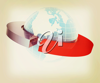 Earth and two poles isolated on white background. 3D illustration. Vintage style.
