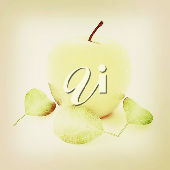 apple with leaf on a white background. 3D illustration. Vintage style.