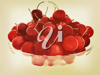 Sweet cherries on a plate on a white background. 3D illustration. Vintage style.