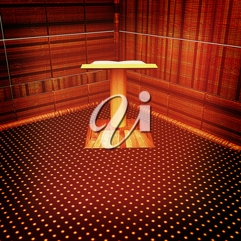3d render of podium with an open book in the corner. 3D illustration. Vintage style.