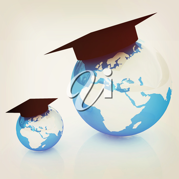 The growth of education. Globally. On a white background. 3D illustration. Vintage style.