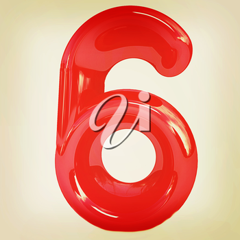 Number 6- six on white background. . 3D illustration. Vintage style.