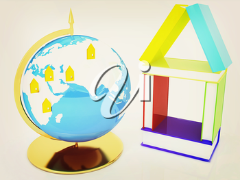 Business concept. Globally. On a white background. 3D illustration. Vintage style.
