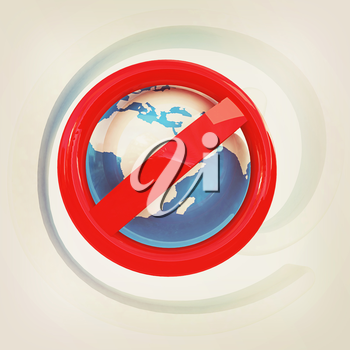 Global e-mail protection with prohibition of spam on a white background. 3D illustration. Vintage style.