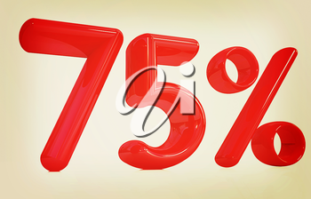 3d red 75 - Seventy-five percent on a white background. 3D illustration. Vintage style.