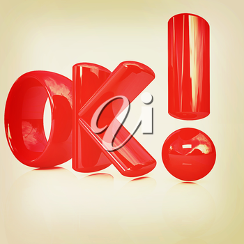 3d redl text OK on a white background. 3D illustration. Vintage style.