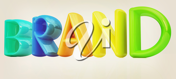 brand 3d colorful text on a white background. 3D illustration. Vintage style.