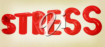 stress 3d text on a white background. 3D illustration. Vintage style.