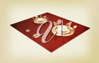 3d gas-stove on a white background. 3D illustration. Vintage style.