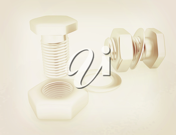 stainless steel bolts with a nuts and washers on white. 3D illustration. Vintage style.