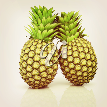 pineapples on a white background. 3D illustration. Vintage style.