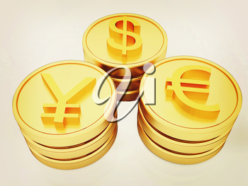gold coins with 3 major currencies on a white background. 3D illustration. Vintage style.