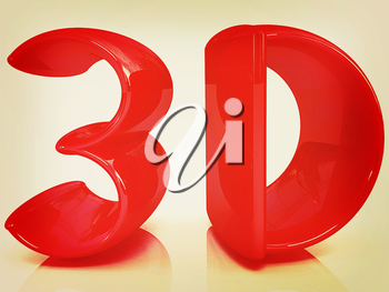 3d text on a white background. 3D illustration. Vintage style.